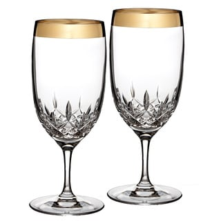Waterford Lismore Essence Gold Iced Beverage Glasses (Set of 2)