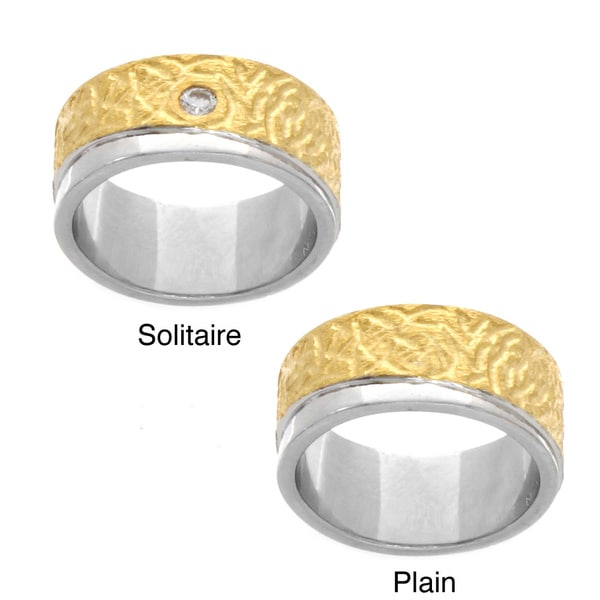 NEXTE Jewelry 14k Gold Overlay Textured/ Polished Solitaire Ring with Bonus Plain Ring