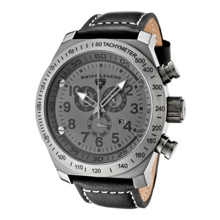 Swiss Legend Men's SL Pilot Chronograph Dark Grey Dial Gunmetal Black Leather Watch