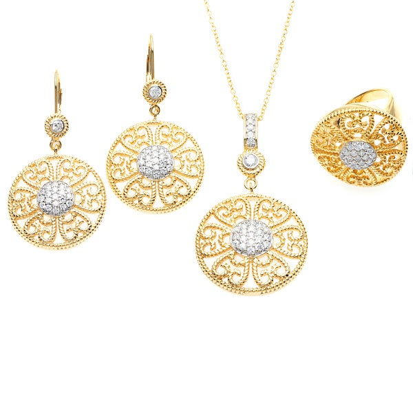 Sterling Essentials 14k Gold Plated CZ Florentine Earring, Ring and Necklace Set