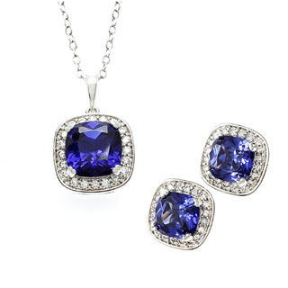 Sterling Essentials Sterling Silver Violet Blue CZ Cushion Earring and Necklace Set