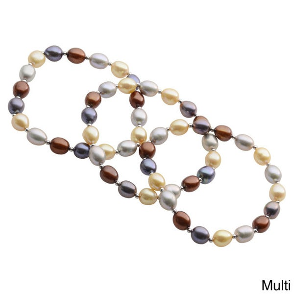 Pearls For You Sterling Silver Dyed Multi-Color Freshwater Pearl & Silver Bead Stretch Bracelet Set (7-7.5) 12070407