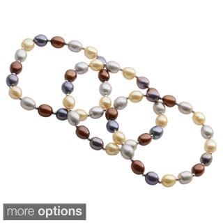 Pearls For You Sterling Silver Dyed Multi-Color Freshwater Pearl & Silver Bead Stretch Bracelet Set (7-7.5)