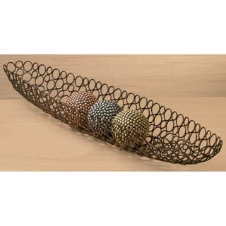 Elongated Handcrafted Iron Oval Basket