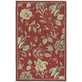 'Lawrence' Raspberry Floral Hand-tufted Wool Rug (3' x 5')