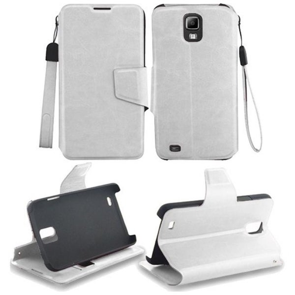 INSTEN White Stand Wallet Leather Folio Book-Style Flip Phone Case Cover for Samsung Galaxy S4 Activ