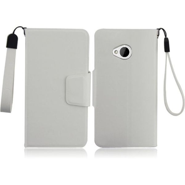 INSTEN White Leather Phone Case Cover with Magnetic Clasp for HTC One M7