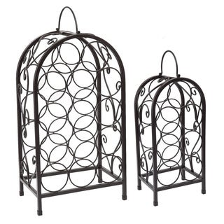 Nesting Matte Black Steel Wine Racks (Set of 2)