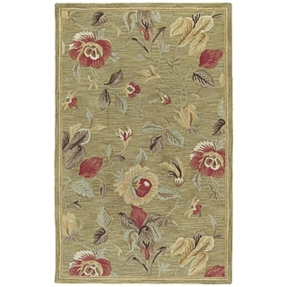 'Lawrence' Light Olive Floral Hand-tufted Wool Rug (8' x 11')