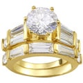 NEXTE Jewelry Goldtone Pinnacle Cubic Zirconia Bridal-style Ring with Bonus Item