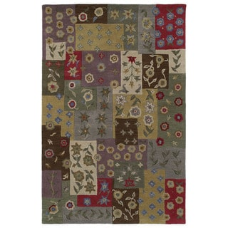 'Lawrence' Multi Patchwork Hand-tufted Wool Rug (9'6 x 13')