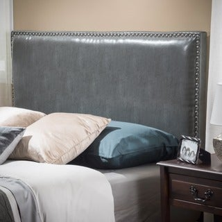 Christopher Knight Home Hilton Queen/Full Grey Leather Headboard
