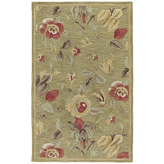 'Lawrence' Light Olive Floral Hand-tufted Wool Rug (2' x 3')