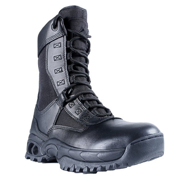 Men's 'The Ghost' Black Leather Zip-up Boots