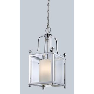 Z-Lite Chrome and Opal Glass 3-light Geometric Pendant Fixture