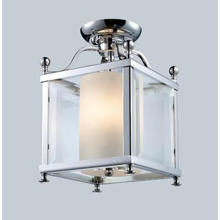 Z-Lite Chrome and Opal Glass 3-light Semi-flush Mount Fixture