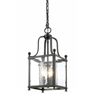 Z-lite Bronze and Hammered Glass 3-light Pendant
