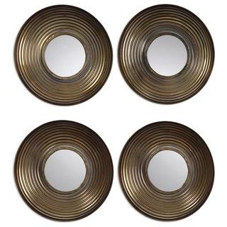 Tondela Antique Golden Bronze Round Mirrors (Set of 4)