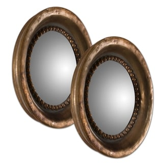 Tropea Rounds Oxidized Copper Mirrors (Set of 2)