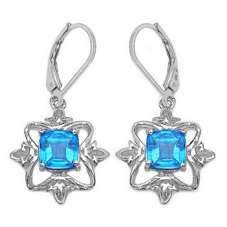 5 ct. Genuine Fancy Shape Swiss Blue Topaz Sterling Silver Earrings