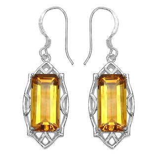 11 1/5 ct. Genuine Octagon Shape Citrine Sterling Silver Earrings