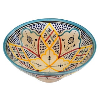 Handmade Moroccan Rainbow Ceramic Serving Bowl from Safi (Morocco)