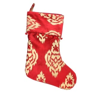 Red and gold Ikat Damask Khari Print Stocking (India)