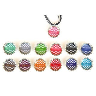 Personalized Chevron Bottle Cap Necklace