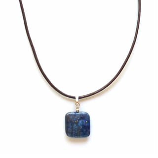 Every Morning Design Blue Lapis and Brown Leather Necklace