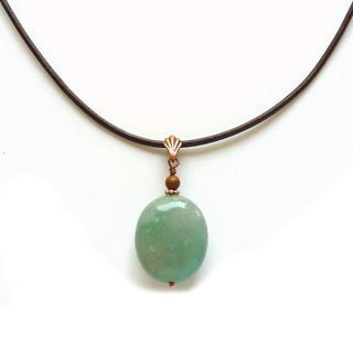 Every Morning Design Green Jade and Copper Brown Leather Necklace