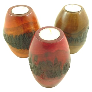 Set of 3 Mango Wood Pillar Bark Candle Holders (Thailand)