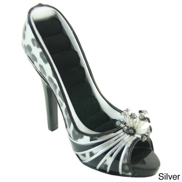 Jacki Design Metallic Leopard Peep Toe Shoe Ring Holder