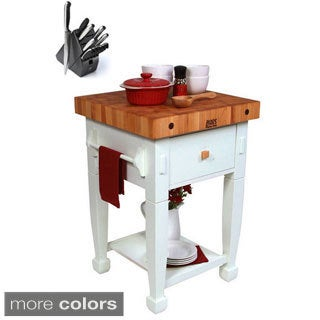 John Boos JASMN24243-D-S Jasmine 24x24 Butcher Block with Henckels 13 Piece Knife Block Set