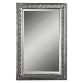 Triple Beaded Silver Leaf Vanity Mirror