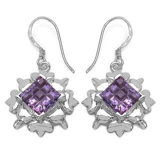 Sterling Silver 5ct TGW Genuine Amethyst Earrings
