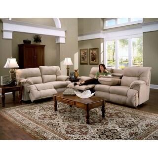 Franklin Tristin Beige Microfiber Dual Reclining Sofa & Love Set