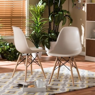 Azzo Beige Plastic Mid-Century Modern Shell Chairs (Set of 2)