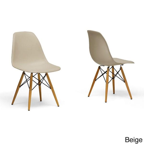 Azzo Beige Plastic Mid Century Modern Shell Chairs Set Of