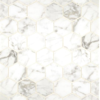 White Carrara Marble Hexagon Mosaic Polished (Box of 10 sheets)
