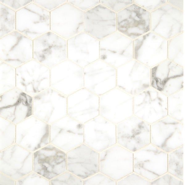 White Carrara Marble Hexagon Mosaic Polished Box Of 10 Sheets