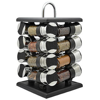 16-piece Revolving Spice Rack with Spice Bottles