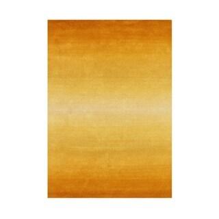 Alliyah Hand Made Yellow New Zeeland Blend Wool Rug 5x8