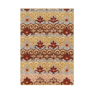 Alliyah Hand Made Apricot Tan New Zeeland Blend Wool Rug 5x8