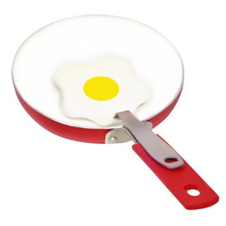Ceramic Coated Non-Stick 5.5 inch Red Aluminum Fry Pan with Spatula