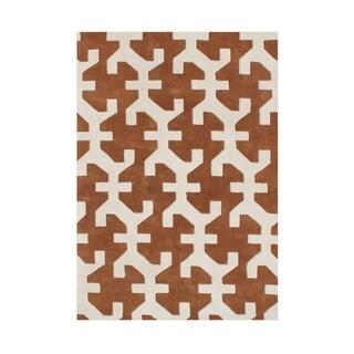 Hand-made Alliyah Cashew New Zealand Blend Wool Rug (5' x 8')