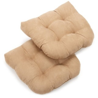 Blazing Needles Neutral U-shaped Tufted Microsuede Chair Cushions (Set of 2)