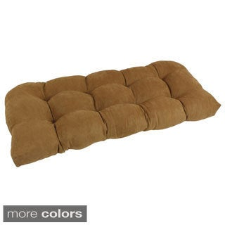 Blazing Needles Neutral U-Shaped Tufted Microsuede Settee/Bench Cushion