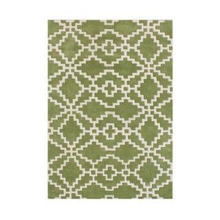 Hand-made Alliyah Lime Green New Zealand Blend Wool Rug (5'x8')