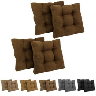 Blazing Needles U-shaped Tufted Microsuede Chair Cushions (Set of 4)