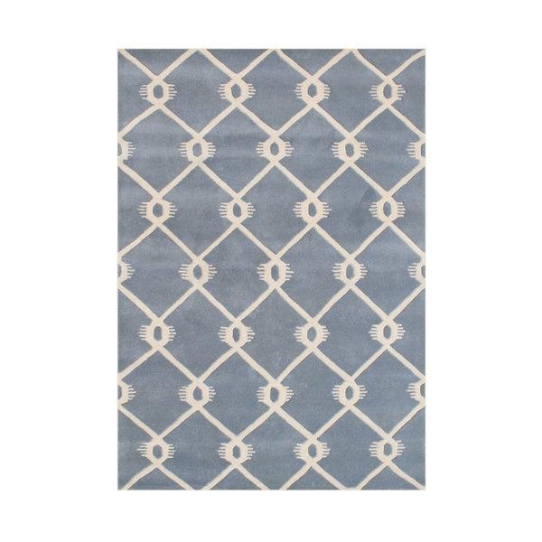 Alliyah Handmade Bluish Grey New Zealand Blend Wool Rug (8' x 10')